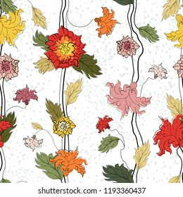 Vector floral seamless abstract hand drawn pattern