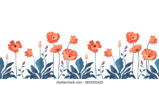 Vector floral seamless border. California poppy flowers, Eschscholtzia. Seamless pattern with coral color flowers, blue leaves and stems. Floral elements isolated on white background.