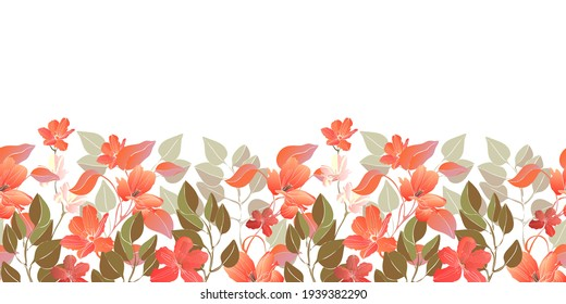 Vector floral seamless border, pattern. Decorative border with red flowers, green leaves. Floral elements isolated on a white background.