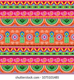 Vector floral seamless folk art pattern - Indian truck art floral, Pakistani Jingle trucks vector design,  vivid ornament with lotus flowers and abstract shapes.  Colorful repetitive Diwali background