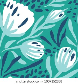 vector floral seamless pattern with abstract hand drawn floral  buds  on a green background