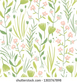 vector floral seamless pattern with abstract herbs and plants