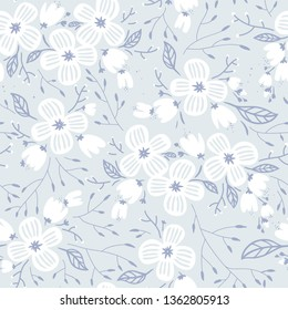 vector floral seamless pattern with abstract white blooms