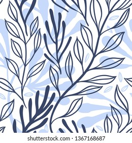 vector floral seamless pattern with abstract leaves
