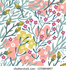 vector floral seamless pattern with abstract blooms and herbs