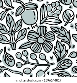vector floral seamless pattern with abstract linear blooms and berries