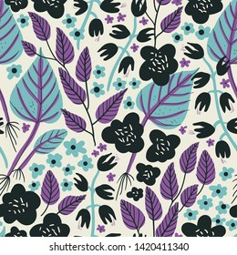 vector floral seamless pattern with abstract leaves and blooms
