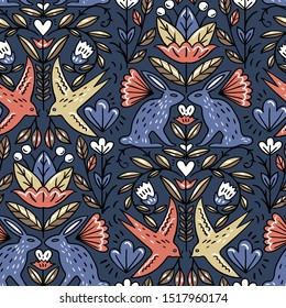 vector floral seamless pattern with abstract rabbits and swallows on a dark grey background