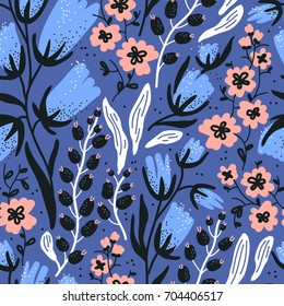vector floral seamless pattern with abstract hand drawn blooms and berries
