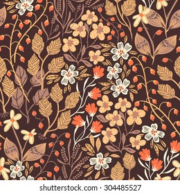vector floral seamless pattern with autumn leaves and flowers