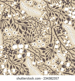 vector floral seamless pattern with berries, plants and feathers