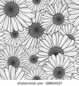 Vector floral seamless pattern. Black and white background with outline hand drawn chamomile flowers. Spring design for fabric, textile print, wrapping paper or web backgrounds.