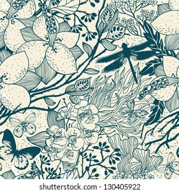 vector floral seamless pattern with blooming garden flowers
