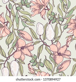 vector floral seamless pattern with blooming flowers and fruits in a vintage style