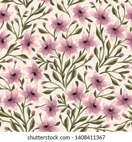 vector floral seamless pattern with blooming pastel flowers