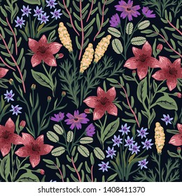 vector floral seamless pattern with blooming flowers and herbs on a black background