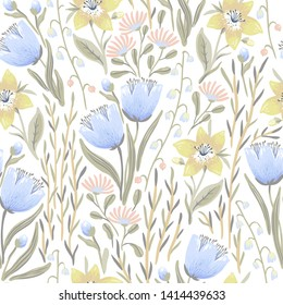 vector floral seamless pattern with blooming tulips and herbs on a white background