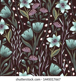 vector floral seamless pattern with blooming flowers on a dark brown background
