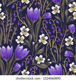 vector floral seamless pattern with blooming spring flowers on a dark violet background