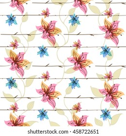 Vector floral seamless pattern with blooming flowers. Watercolor effect imitation, aquarelle paints.
