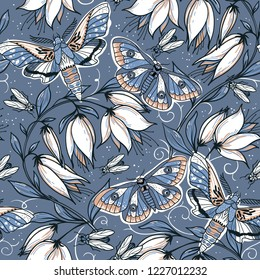 Vector floral  seamless pattern with blooms and butterflies on a grey background
