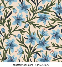 vector floral seamless pattern with blossoming  blue flowers