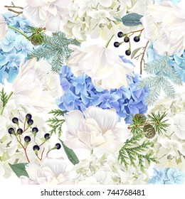 Vector floral seamless pattern with blue hydrangea, tulip flowers, conifer branches on white. Romantic background winter design for christmas, new year, wedding. Best for wrapping paper, fabric