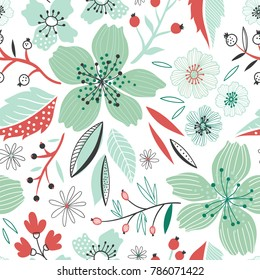 Vector floral seamless pattern  with blue flowers on the white background