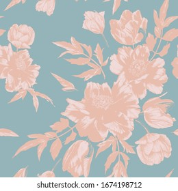 Vector floral seamless pattern with bouquets of tulips and peonies