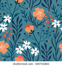 vector floral seamless pattern with  bright summer blooms