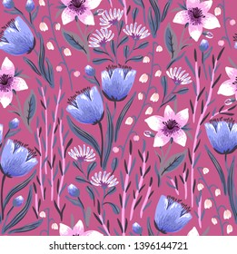 vector floral seamless pattern with bright blooming wild flowers on a magenta background