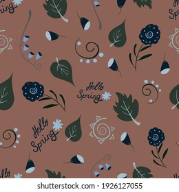Vector floral seamless pattern with bronze background for fabric, scrapbooking, wrapping paper
