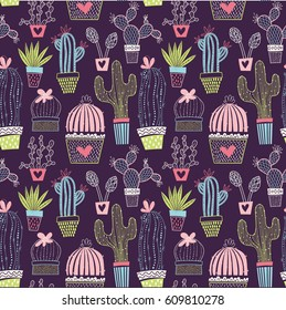 Vector floral seamless pattern with cactuses