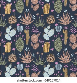 Vector floral seamless pattern with ccolorful cute cactuses