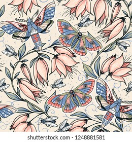vector floral seamless pattern with colored flying butterflies and blooms