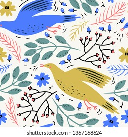 vector floral seamless pattern with colored birds and plants