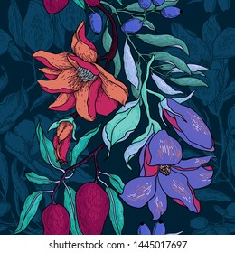 vector floral seamless pattern with colored bright blooms and fruits on a dark blue background