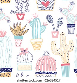Vector floral seamless pattern with colorful cute cactuses