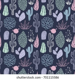 Vector floral seamless pattern with cute cactuses on the dark background