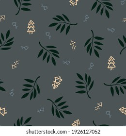 Vector floral seamless pattern with dark grey background and symbols for fabric, scrapbooking, wrapping paper