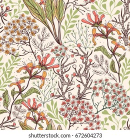 vector floral seamless pattern with detailed hand drawn plants and blooms