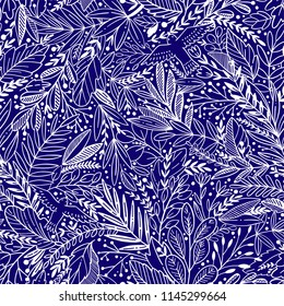 Vector floral seamless pattern with exotic leaves and birds