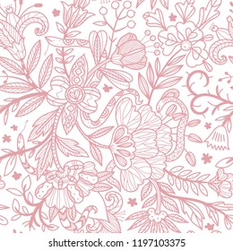 vector floral seamless pattern with fantasy linear blooms