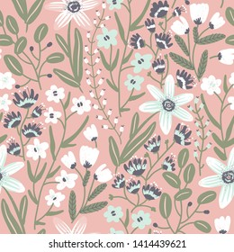 vector floral seamless pattern with fantasy blooming plants and flowers on a rose background