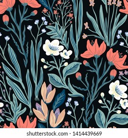 vector floral seamless pattern with fantasy blooming flowers on a black background