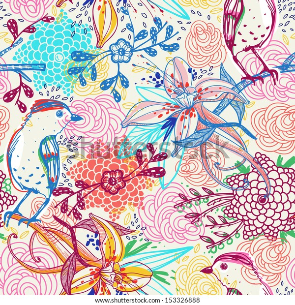 vector floral  seamless pattern with fantasy flowers and birds