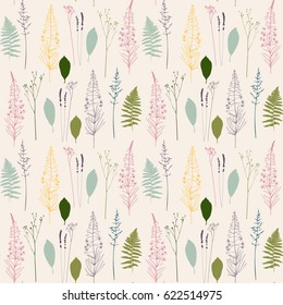 Vector floral seamless pattern  with  fireweed flowers,dill or fennel, fern leaves, lavender and grass. Hand drawn thin lines meadow wild plants in pink,purple, blue and green on beige background.