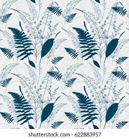 Vector floral seamless pattern  with  fireweed flowers, fern leaves, lavender and grass. Hand drawn thin lines meadow wild plants in navy blue on beige background.