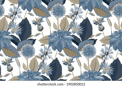 Vector floral seamless pattern. Flower background. Seamless pattern with blue cornflowers, dahlias, thistles flowers, blue, brown leaves. Floral elements isolated on white background.