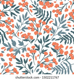 Vector Floral seamless pattern. Flowers and leaves. Repeat background with plants. Hand Drawn texture with blossom. Botanical Design for print, wallpaper, fabrics or wrapping paper.